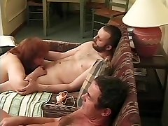 Fat recorded tryaction gangbanged by two workers