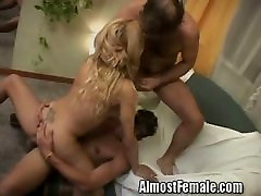 Tranny on her double fuck engine