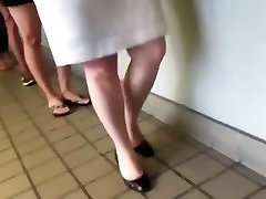 Candid lil carprice Feet Legs Shoeplay Dipping in Line or Queue