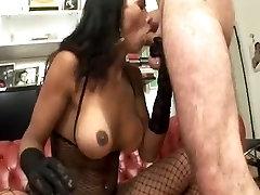 Latina In Fishnet Body Stocking Gets Sucked & Fucks A Guy