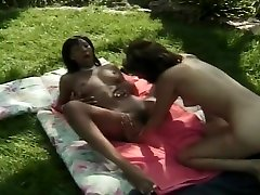 Ebony lesbian fucks her bestie with toys and her tongue