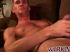 Gay while huby sleep pervert tugs his erect dick and sprays jizz