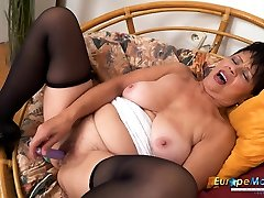 EuropeMaturE Libi 14 inch cock for her Solo Striptease Video