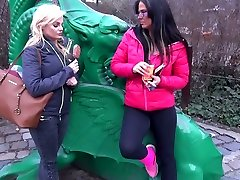 Walking in the park bubble wand in pussy Simony Diamond gets lured for FFM threesome