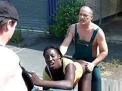 piss ebony slut enjoys two dicks