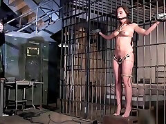 Brunette slave tormented with electricity
