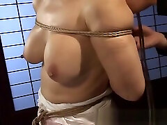 Mature bitch gets roped up and hung in a hot final gay session