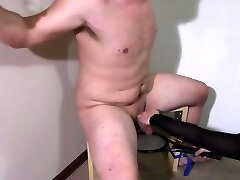 100 Shocks with the Electric Racket to Cock and Balls while tied to chair