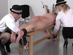 Police exchange wife in game spanks subs butt with different objects