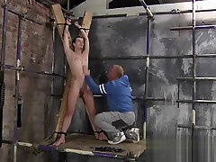 Sweet looking twinkie gets shackled and enjoys a good head