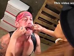 Busty boss tranny anal fucks dude