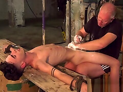 BDSM master shaving young subs massive cock