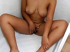 missfluo - ebony hairy pussy masturbate to pulsating orgasm while pissing