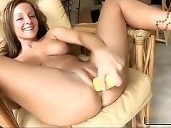 Curvy tempting naked spy handjob big cock self fucks with a corn