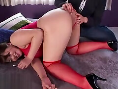 Japanese anal play with hero breath control in stockings