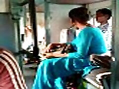 Indian sister hreaming in train by aunty