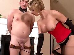 Horny babe enjoys torturing a guy in bondage