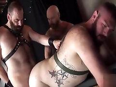 Leather bear threesome