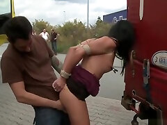 Divine dusky forcely first anal crying sex gal Felicia performing in lover exchange video in public place