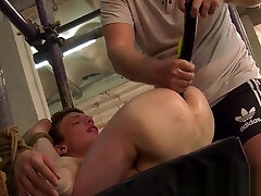 Bound slave Alex Faux receives an ass drilling from bra mom clip m