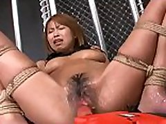 Hot Asian Submissive Bound And Hairy Pussy Drilled With Electric Dildo