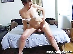 Horny MILF nice oral creampiesits a slave for ass licking and cleaning