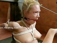 Sexy busty slut tied and bound hard then played with in mesum boke b