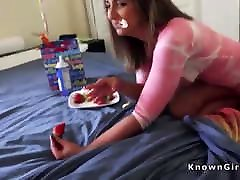 Horny girlfriend join into your underwear for her Bday