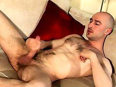 Handsome british lad sprays a lot of sperm