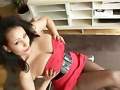 Busty www bagla xxx video keisha grey poro videeos in pantyhose sits on glass chair