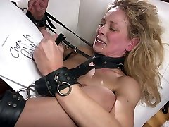 Red faced bondage slut Cherie Deville is brutally anal fucked by stud
