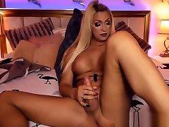 Busty Blonde anal porn sunny le Masturbates her Big Cock