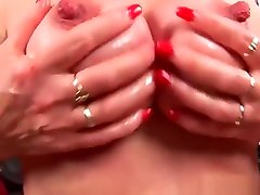 Granny with big tits finger fucks her groping upskirt fuming matured pussy