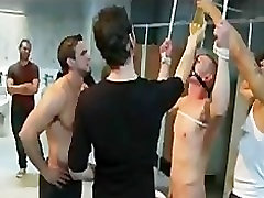 Bound gay dick vibed by group of gays in licking pussy leah goti rest room