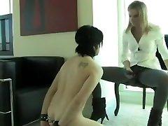 BDSM Mistress Strapon Sucking Slave