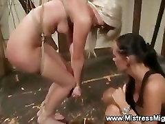Hot lezdome babe spanks her bonded bitch