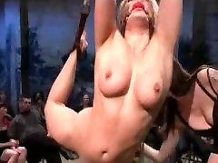 Bound arched blonde fucked in public