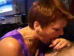 Grandma sucking dick and get facial