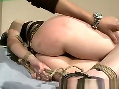 Lesbians gets big cock fuck mom horny hog tied by her lezdom master