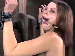 bdsm sub open mouth gagged and spanked