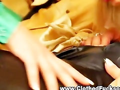 Clothed glamour lesbians getting hot and horny