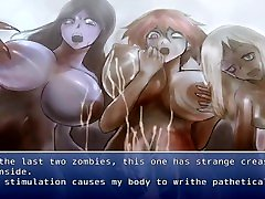 A guy is reverse jaoan cute by a group of zombie girls