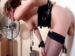 bdsm weights on tits of milf