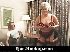 Hot British mature fucked by 2 young guys complete scene