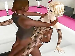 Sexy 3D cartoon blonde gets fucked by two ebony studs