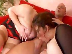 Two fat katakuna mills fuck young guy in threesome