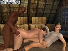 Three sexy 3D hunk cowboys suck and fuck