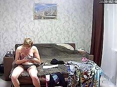 Hidden camera. Beautiful girl Fucks her lover, spying on her