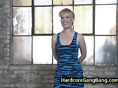 Tied up blond taken down and orgy fucked