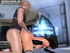 Sexy 3D tranny babe getting fucked on a spaceship